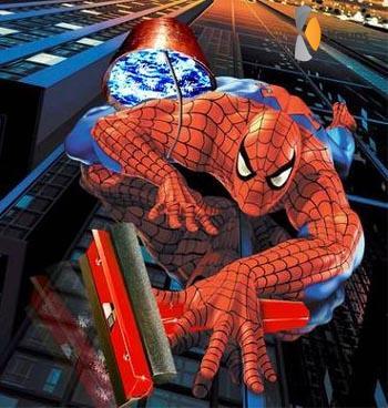 spiderman als glazenwasser