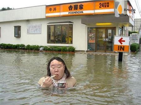 toch wat eten in de overstroming