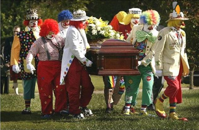 clown begrafenis