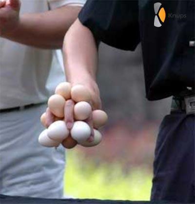 zoveel mogelijk eieren vasthouden
