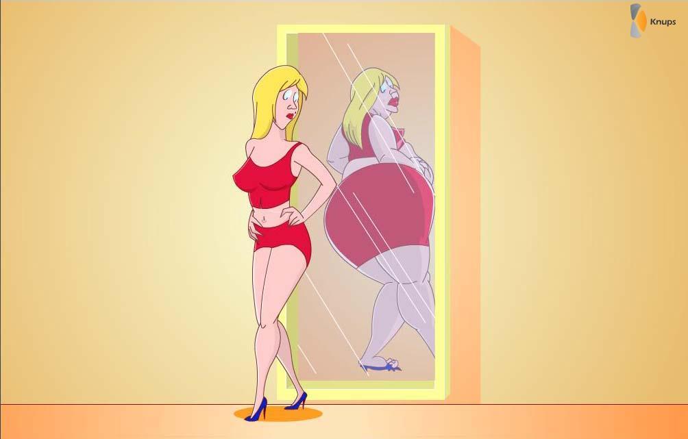 spiegel die je dikker laat lijken